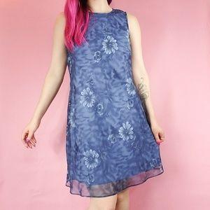 VTG 90s blue floral shift dress